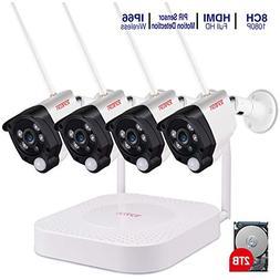 Tonton 1080P Full HD Wireless Security Camera System, 8CH NV