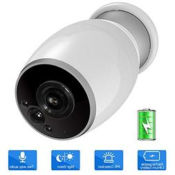 Wireless Camera Outdoor, SDETER 720P Battery Powered WiFi Se